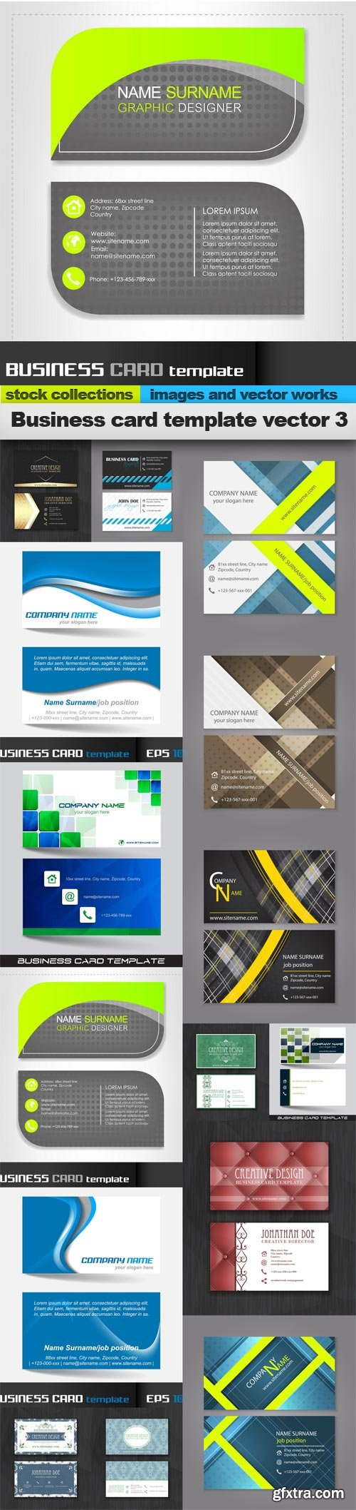 Business card template vector 3, 15 x EPS