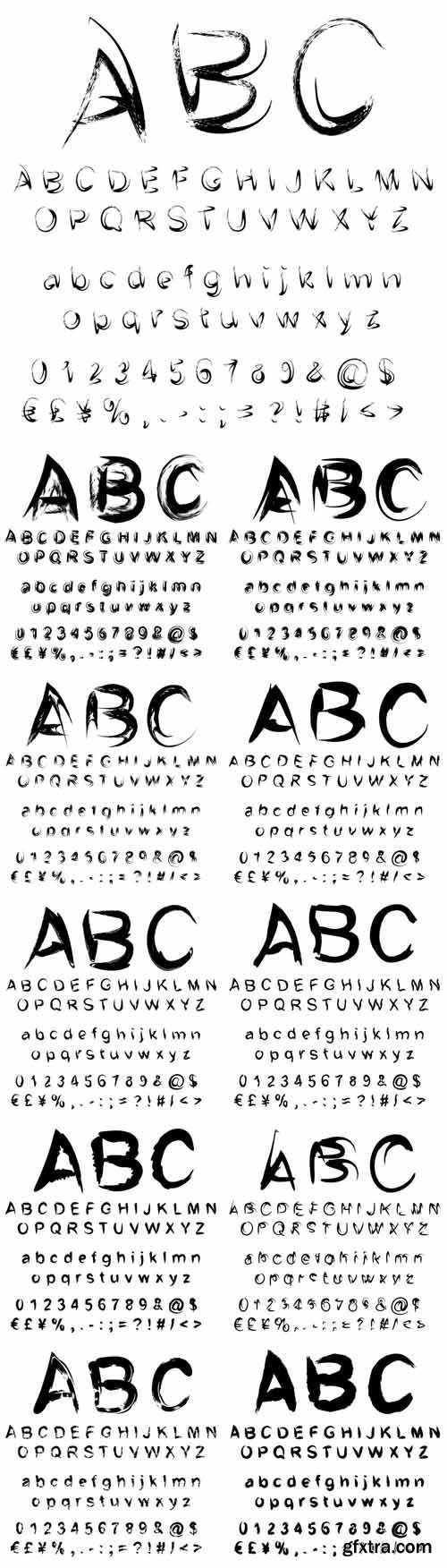 Vector conceptual collection of black handwritten, sketch or paint fonts
