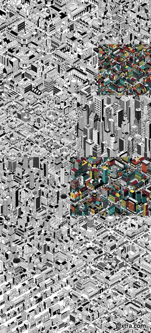 City Urban Blocks Isometric Seamless Pattern