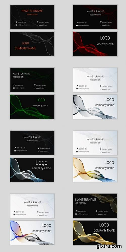 Abstract Business Card Design with Waves 2