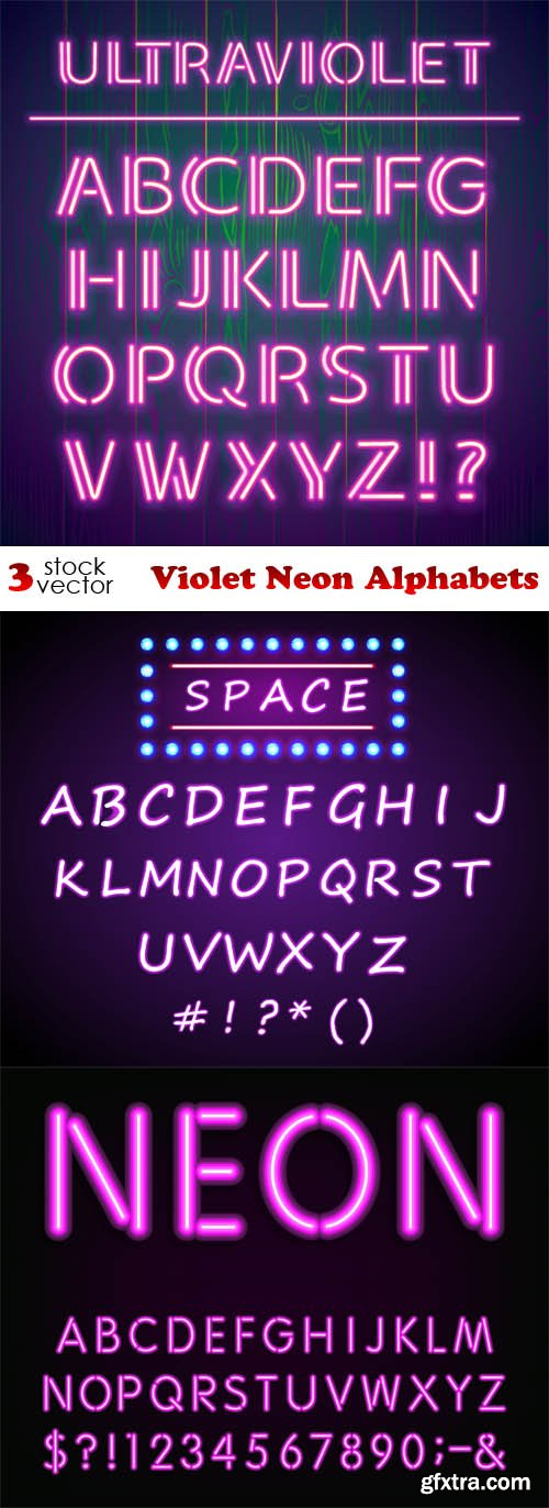 Vectors - Violet Neon Alphabets