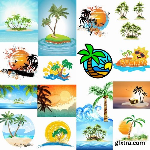 Collection of tropical palm island ocean sunrise sunset tourism travel banner flyer 25 EPS