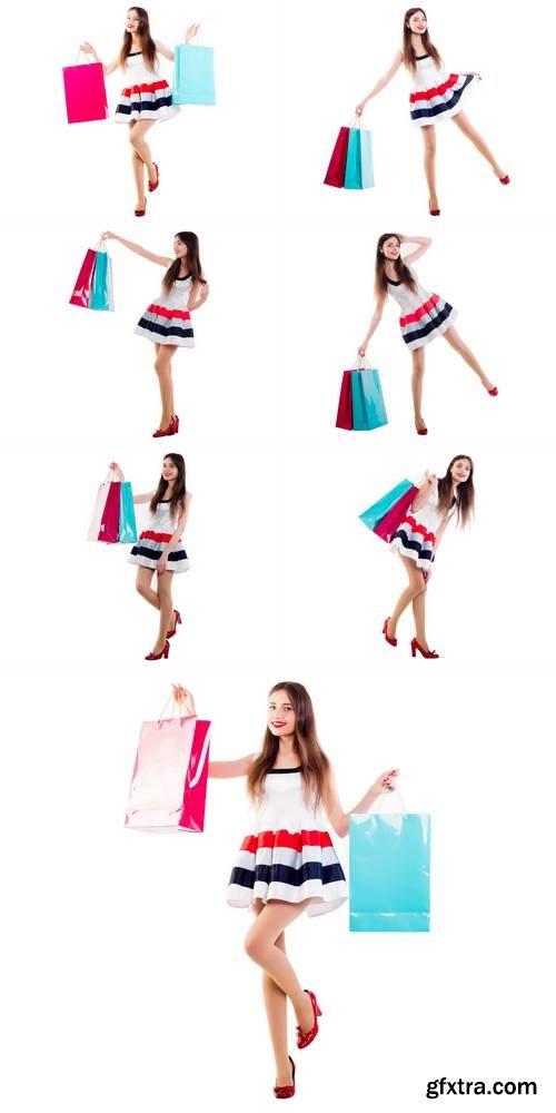 Beautiful Caucasian Female with Shopping Bags
