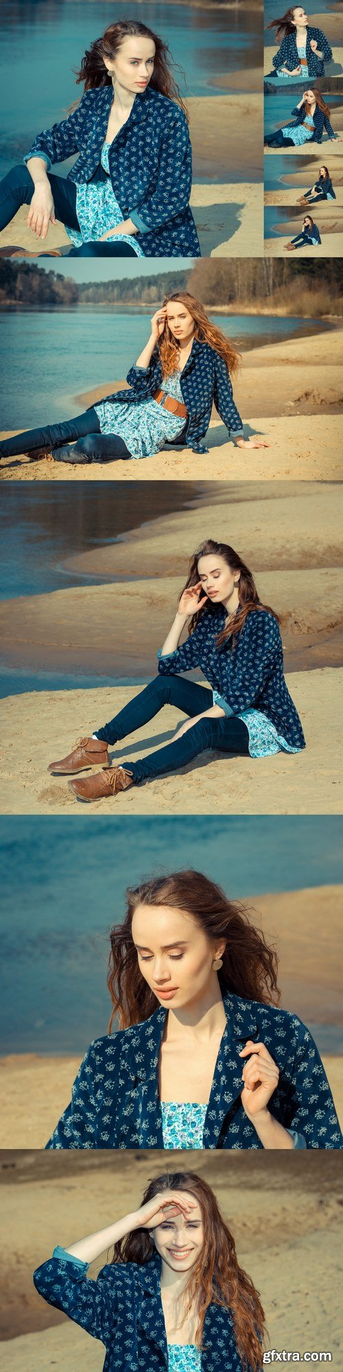 Dreamy lonely hipster girl on the sand