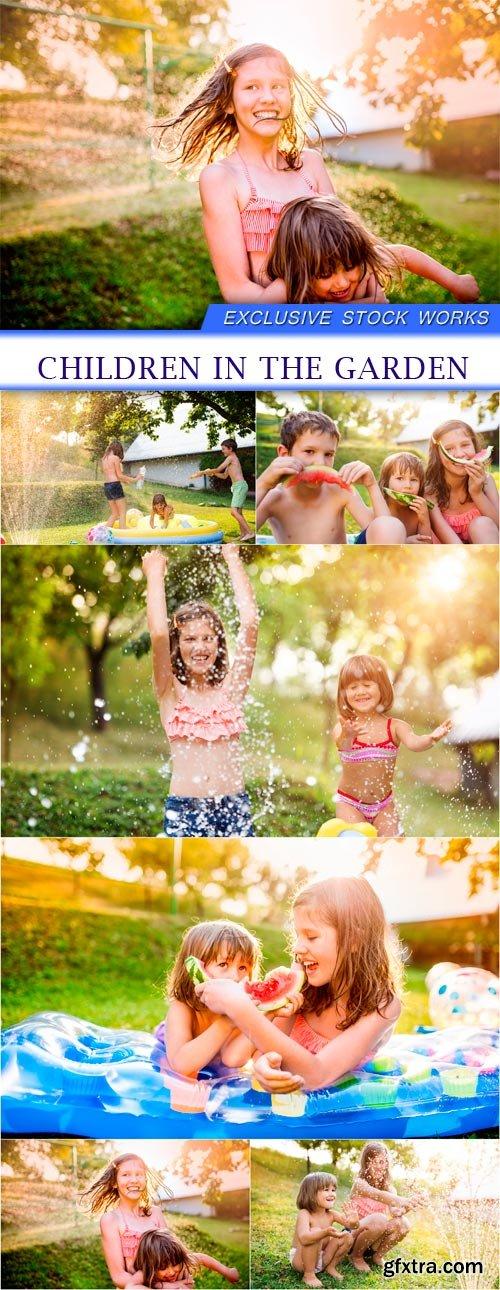 Children in the garden 6X JPEG