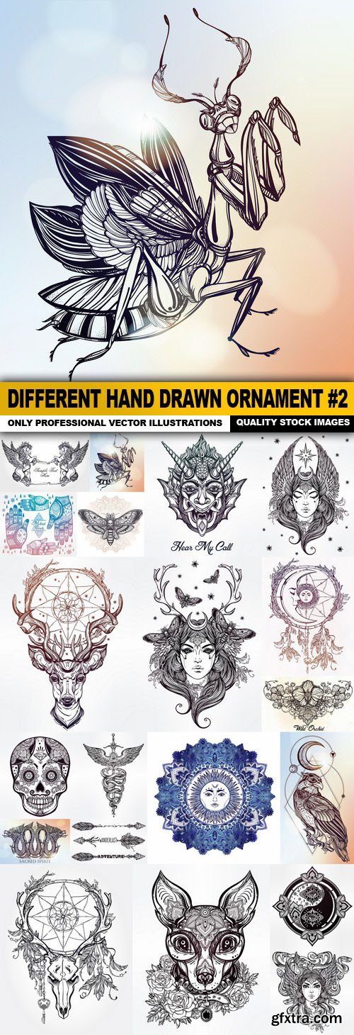 Different Hand Drawn Ornament #2 - 20 Vector