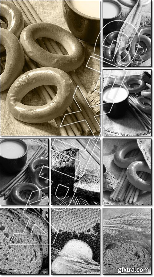 Still life with homemade bread and pottery, black and white phot - Stock photo