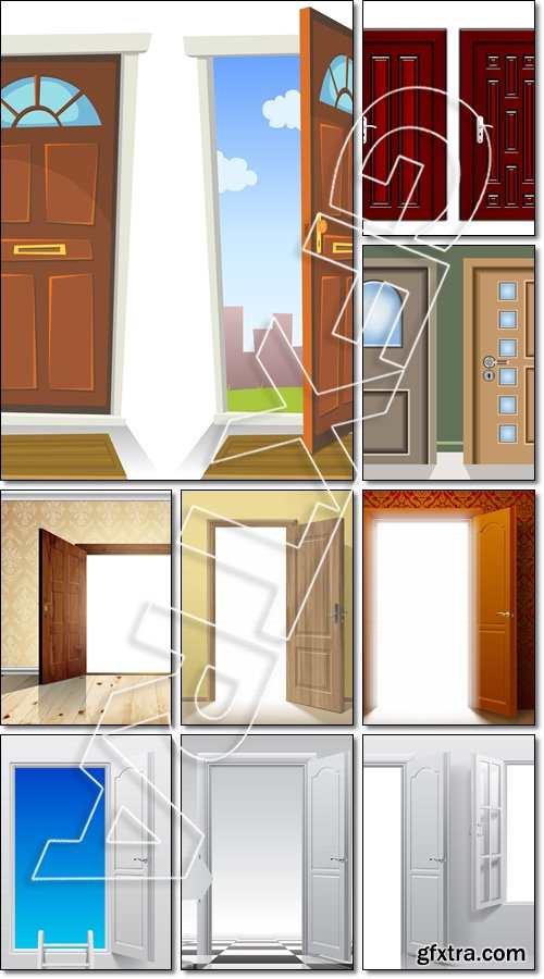 Different colors and design of luxury door - Vector
