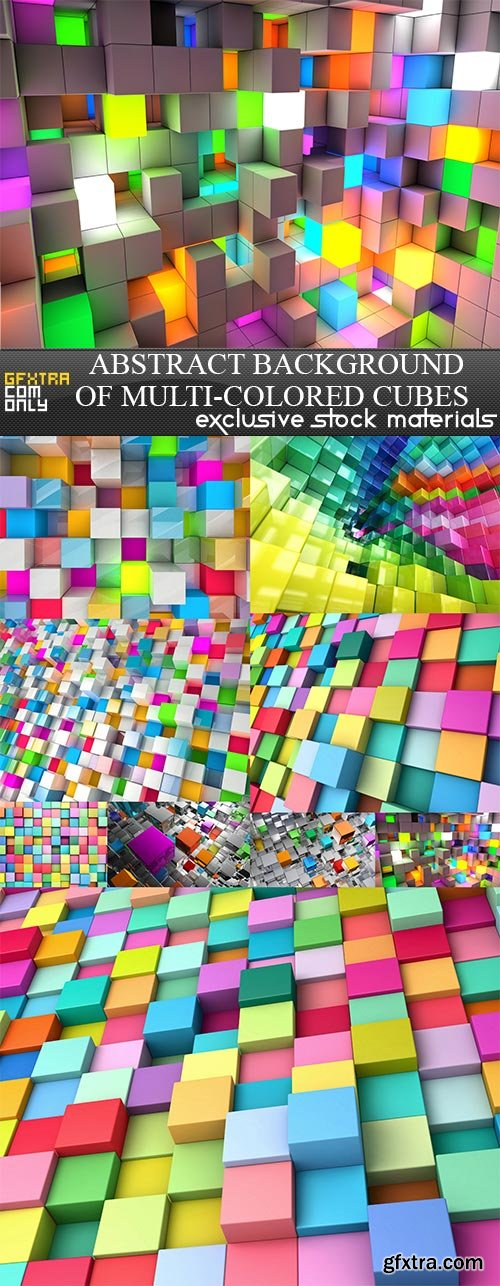 Abstract background of multi-colored cubes, 9  x  UHQ JPEG