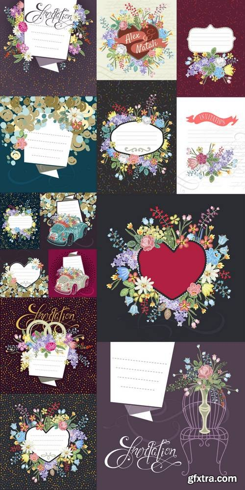 Background in Retro-Style with Flowers