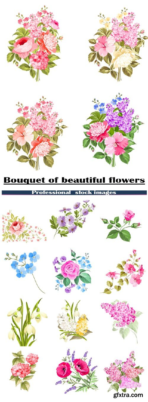 Stock vector bouquets of beautiful flowers