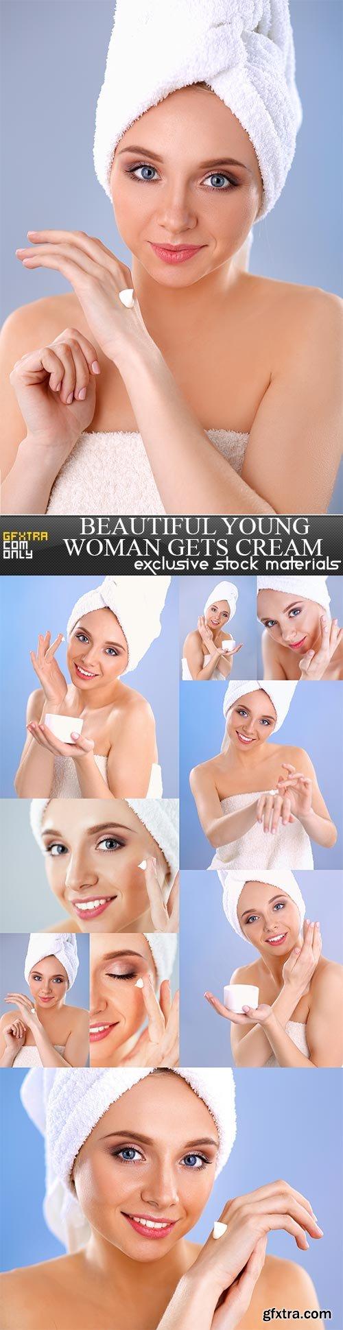 Beautiful young woman gets cream, 9  x  UHQ JPEG