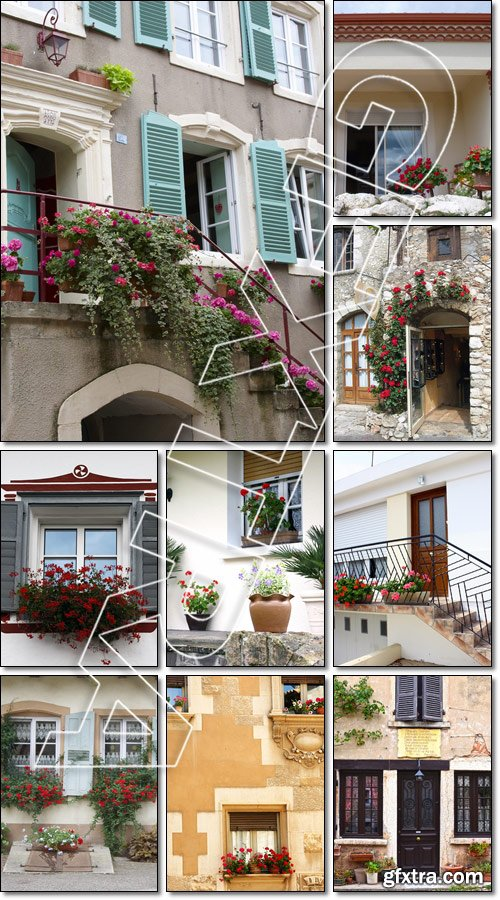 Exterior, house, ville, balcony with flowers in a facade of Sitges - Stock photo