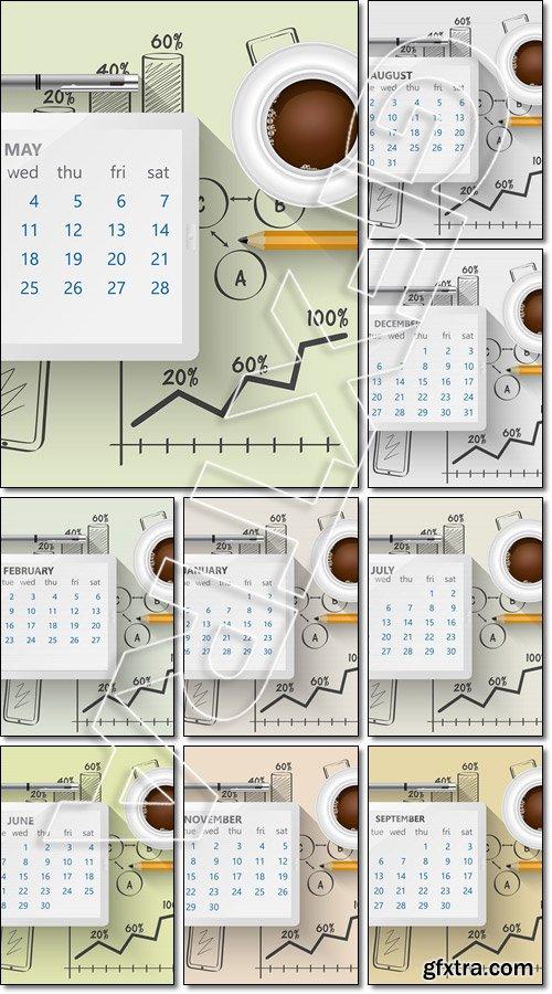 Planning calendar in the computer tablet - Vector
