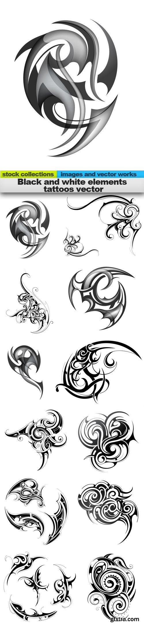 Black and white elements tattoos vector, 15 x EPS