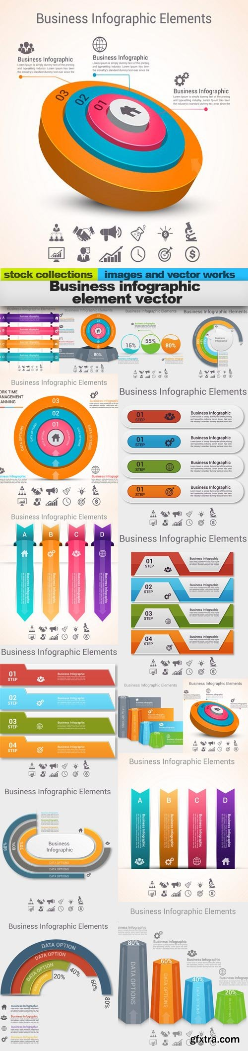 Business infographic element vector, 15 x EPS