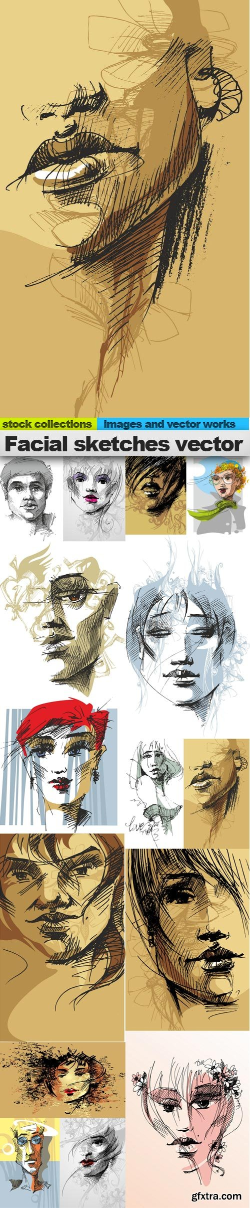 Facial sketches vector, 15 x EPS