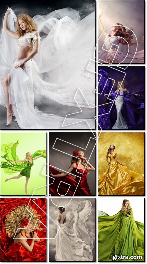 Young Woman in Fashion Shiny Dress, Lady in Flying Clothes - Stock photo