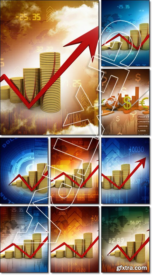 Business graph & many - Stock photo