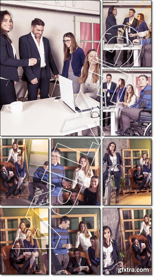 Team of young businesspeople working together - Stock photo