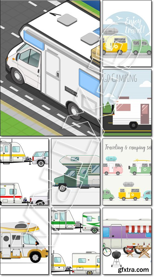 Transport caravan set. Types of trailers - Vector