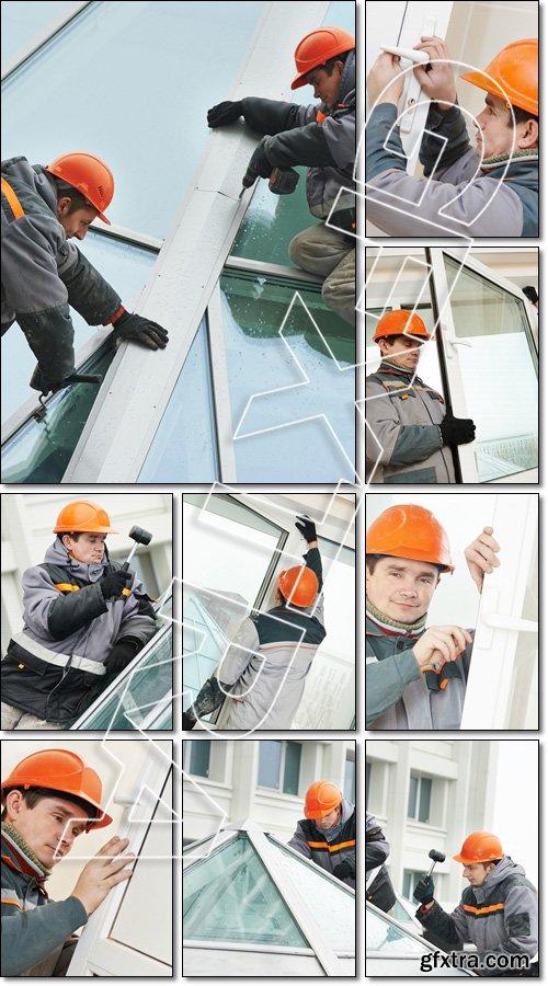 Workers installing window - Stock photo