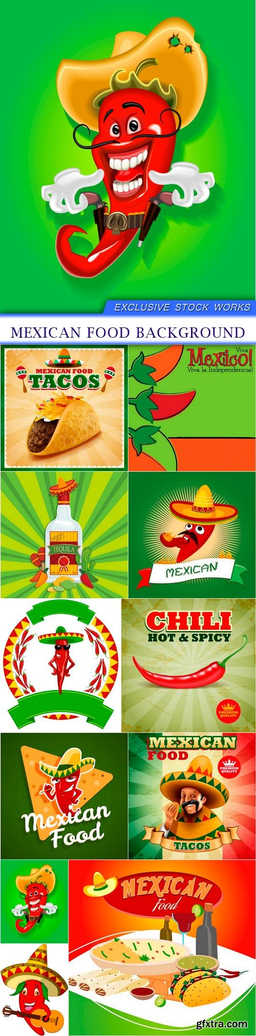 Mexican food background 11X EPS
