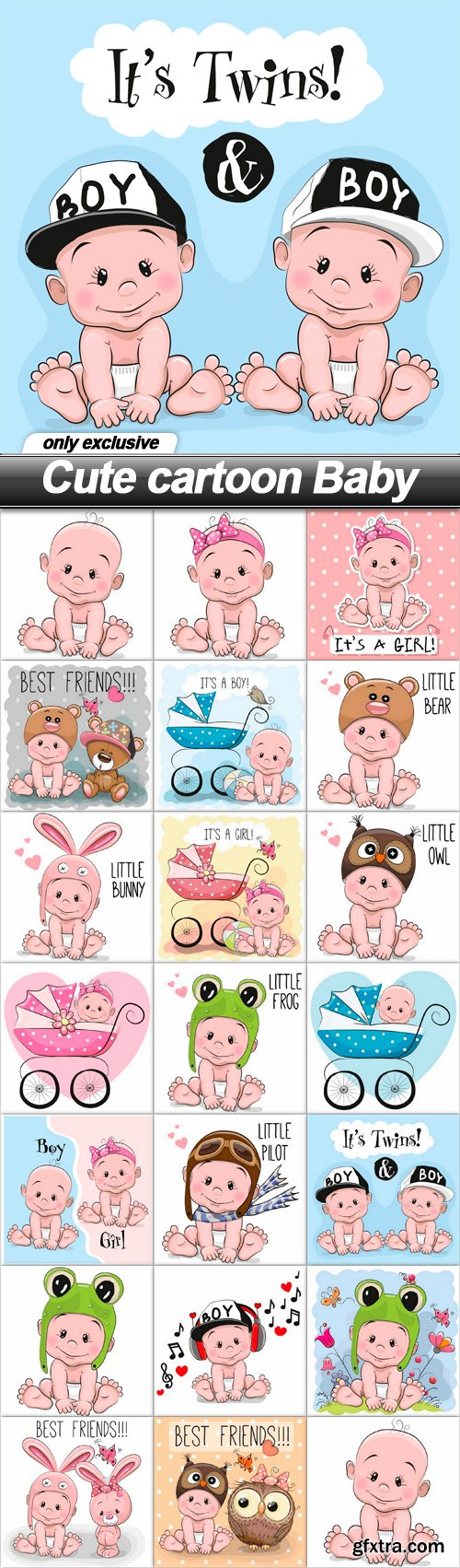Cute cartoon Baby - 20 EPS