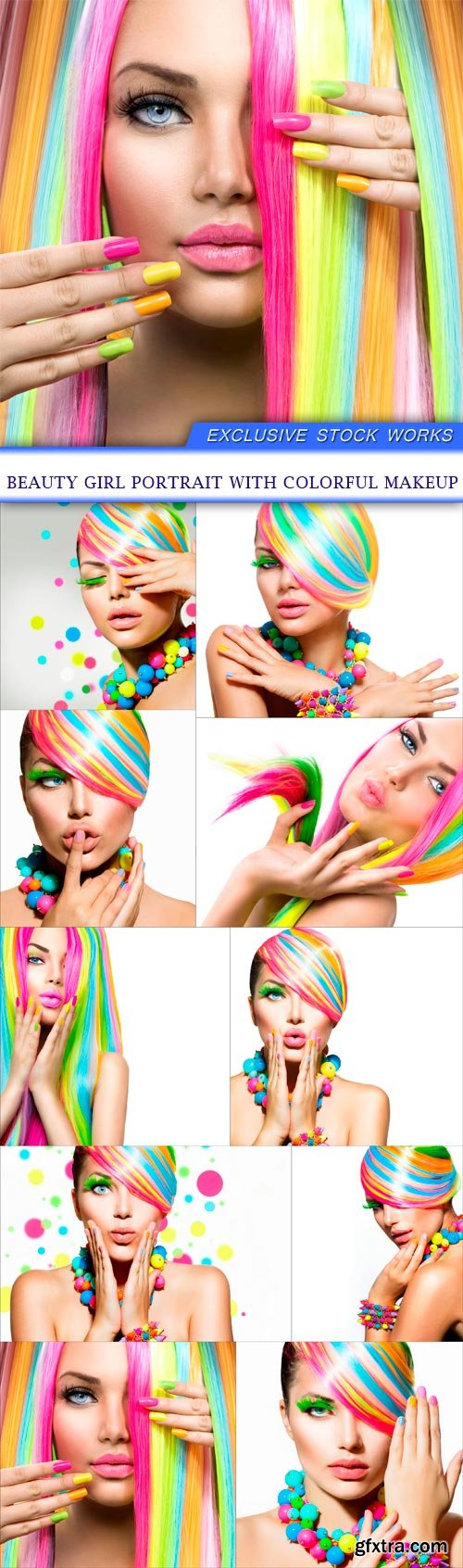 Beauty Girl Portrait with Colorful Makeup 10X JPEG
