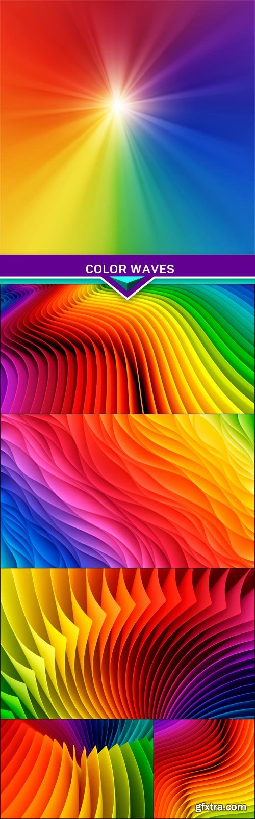 Color waves Abstract background 6x JPEG