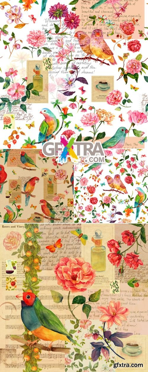 Stock Photo - Vintage Backgrounds with Birds