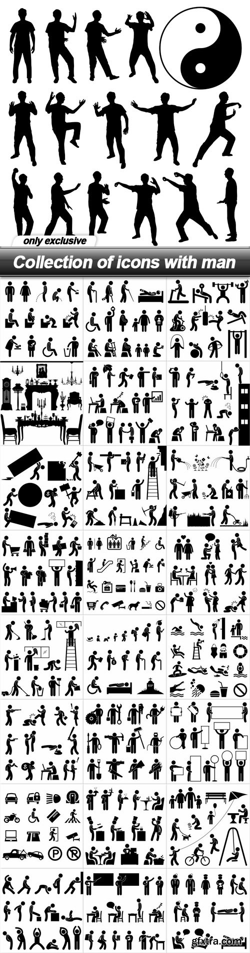 Collection of icons with man - 25 EPS