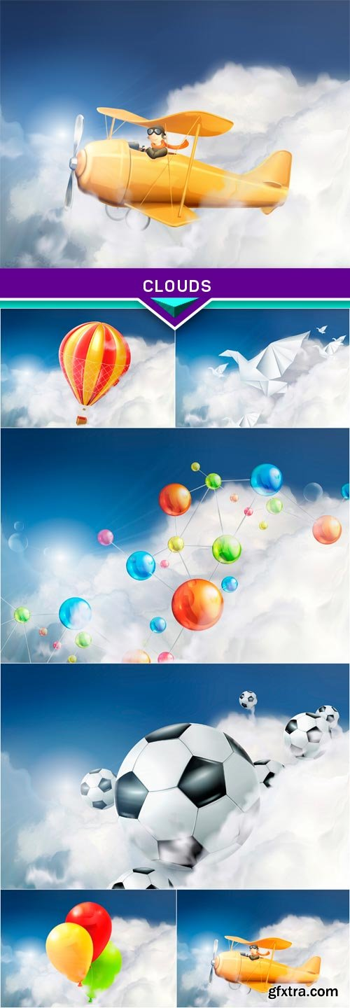 Clouds, vector background 6x EPS