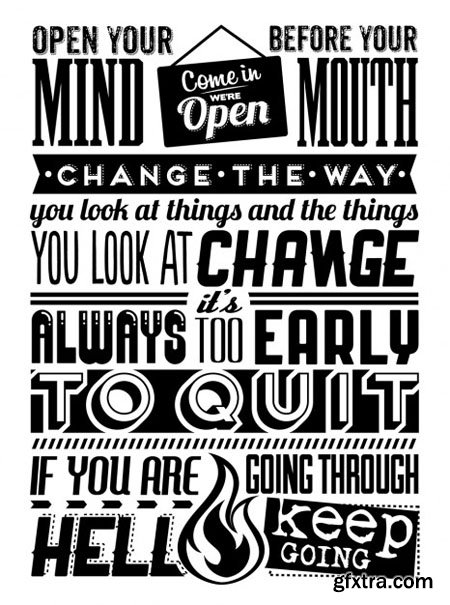 Vintage Motivational Quotes in Vector
