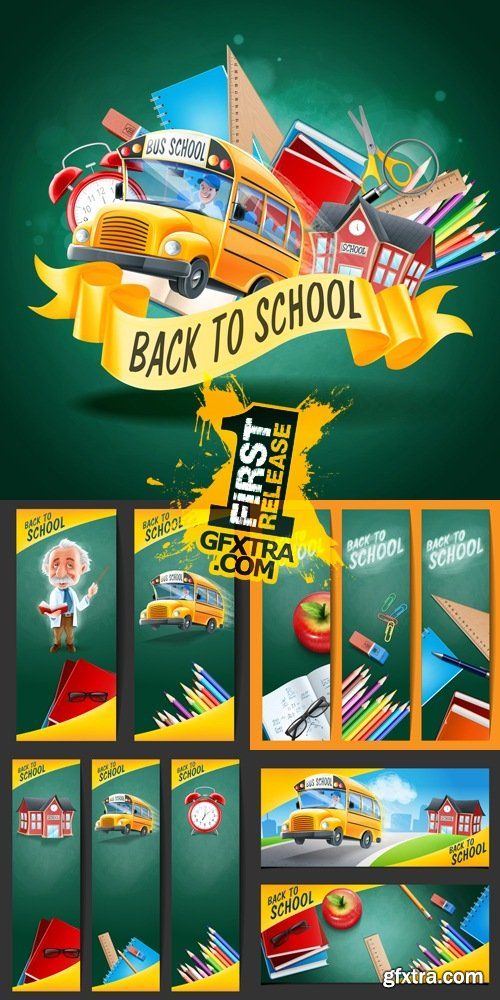 Back to School Backgrounds & Banners Vector