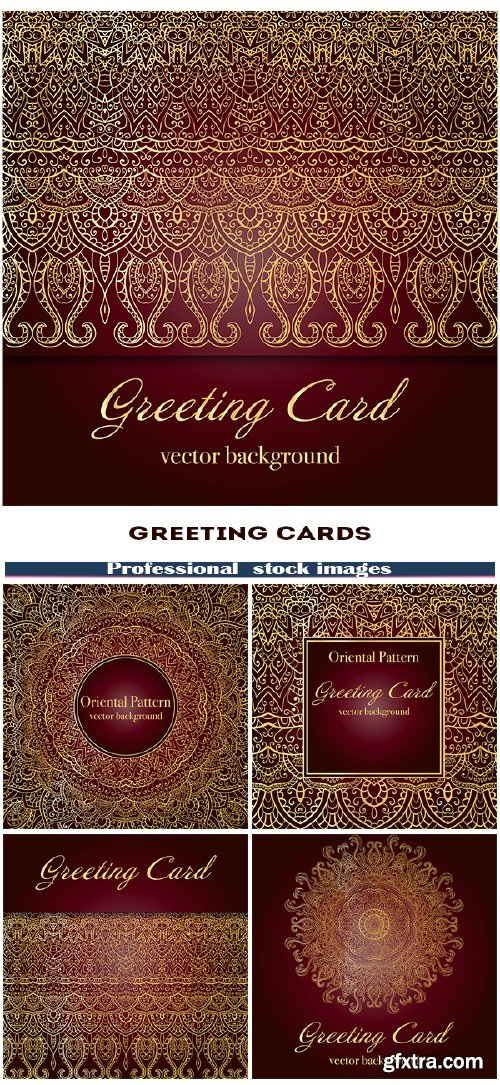 Greeting cards with elegant Indian ornamentation