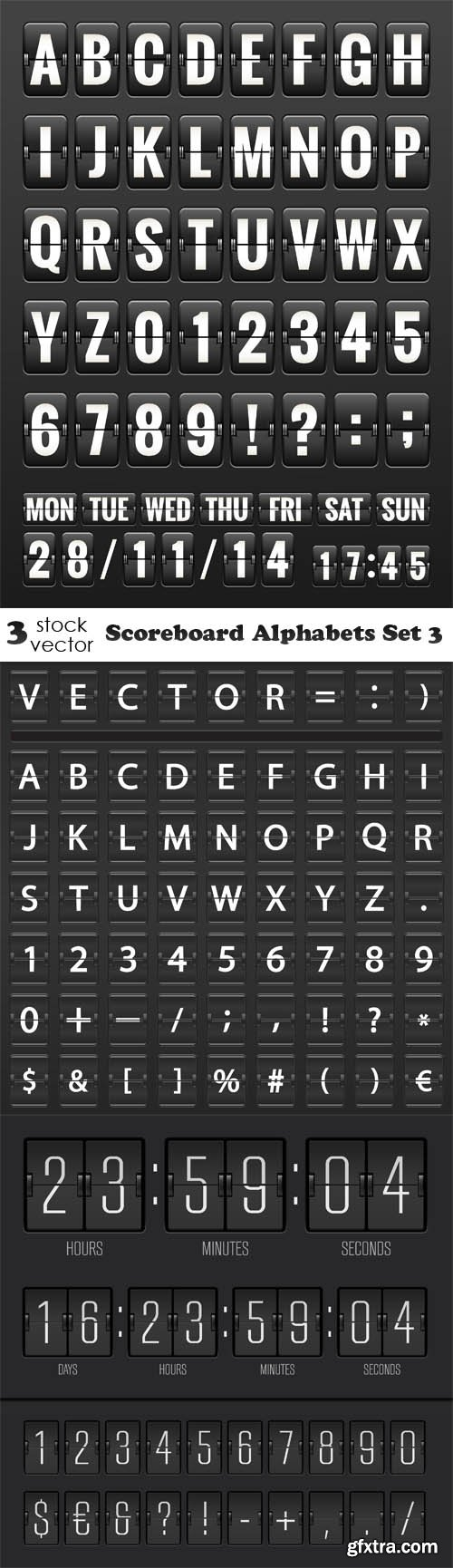 Vectors - Scoreboard Alphabets Set 3