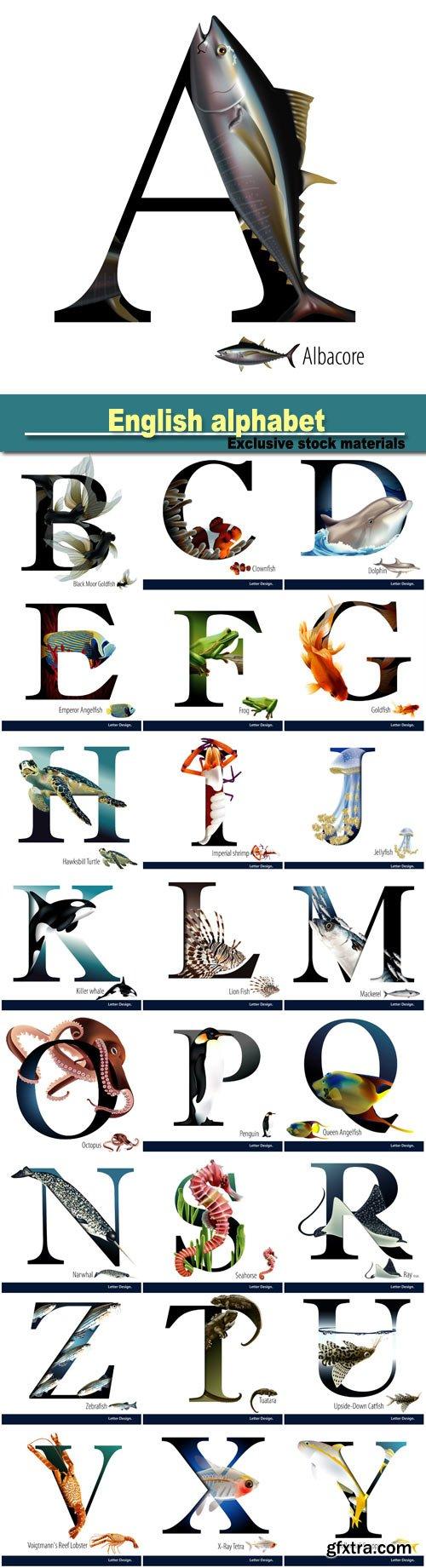 English alphabet in a marine style