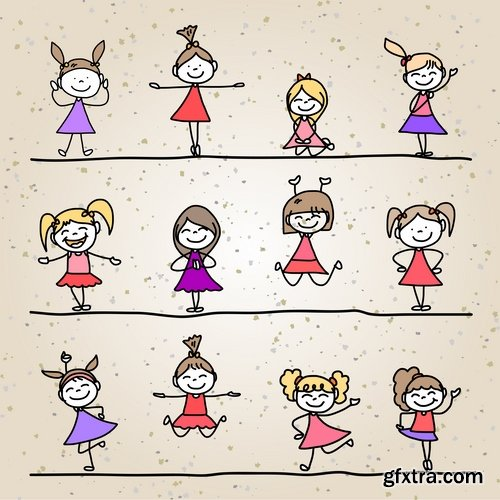 Collection of cartoon characters vector different picture man woman man 2-25 EPS