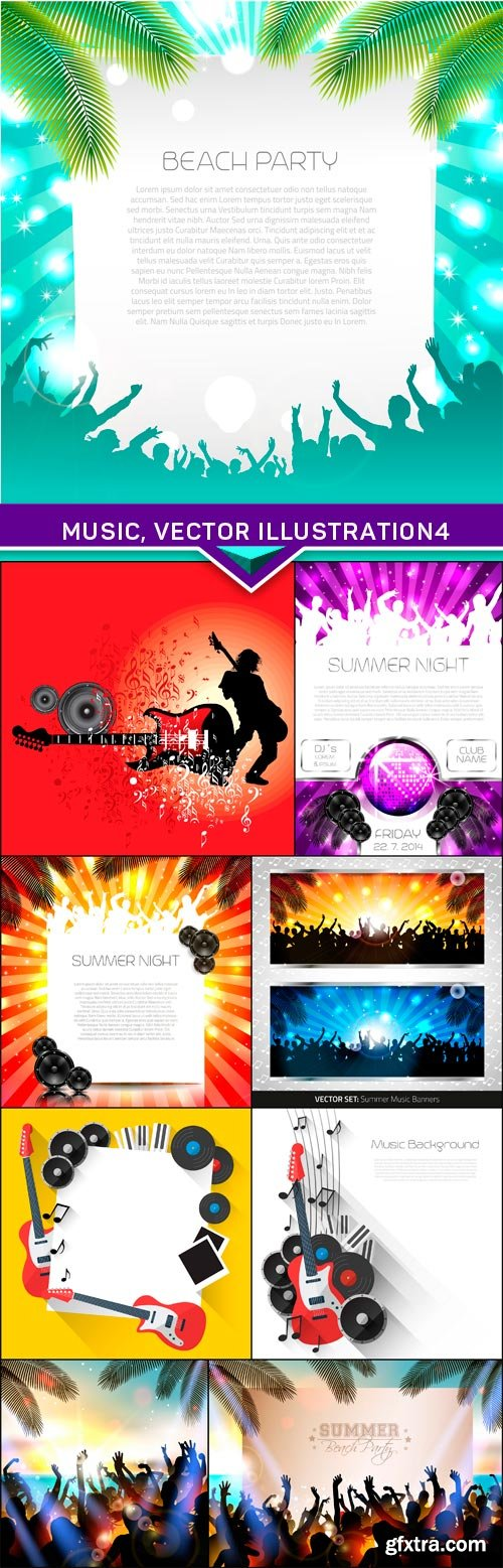 Music, vector illustration 4 9x EPS