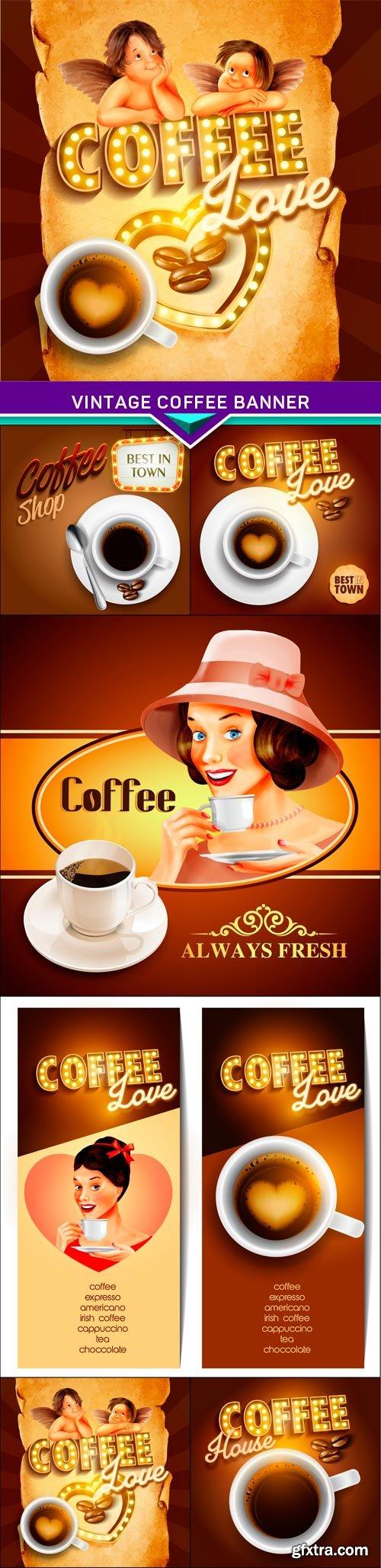 Vintage coffee banner 6x EPS