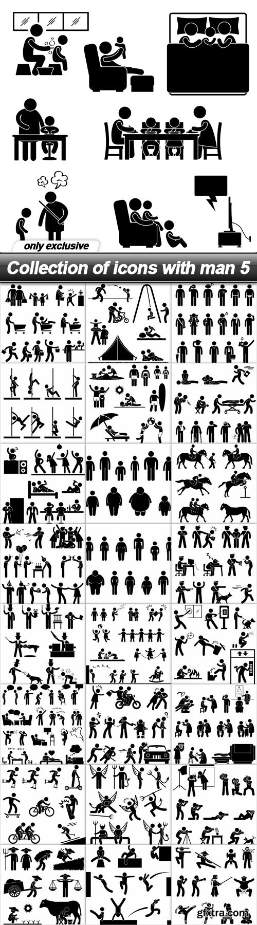 Collection of icons with man 5 - 25 EPS