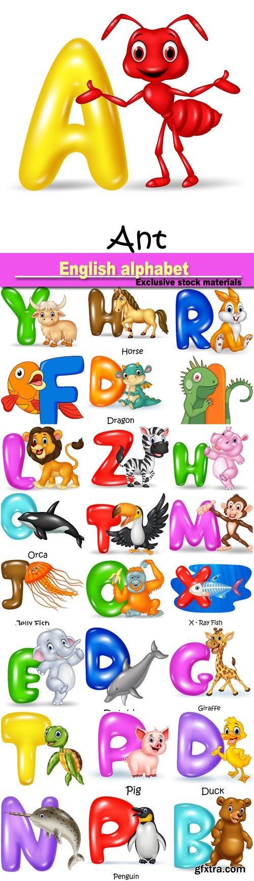 English alphabet with cartoon animals