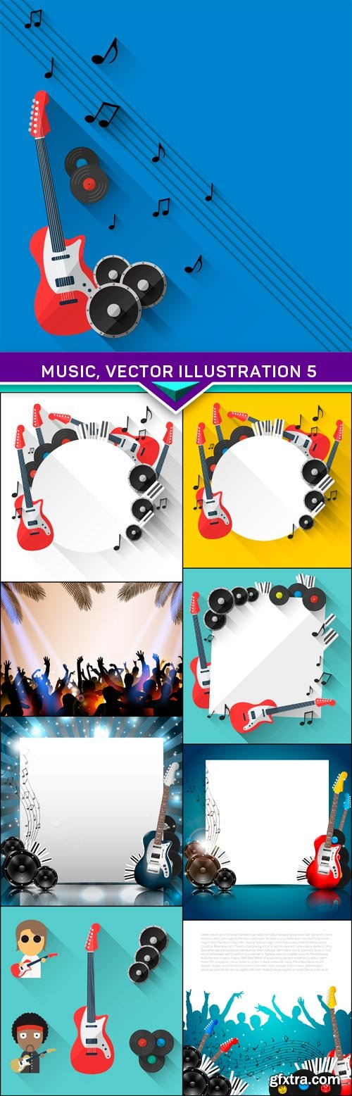 Music, vector illustration 5 9x EPS