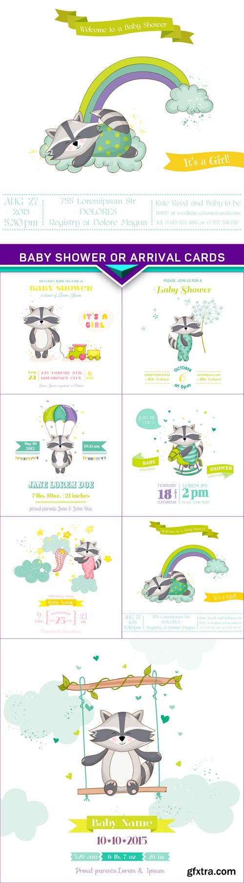 Baby Shower or Arrival Cards, Raccoon vector 7x EPS