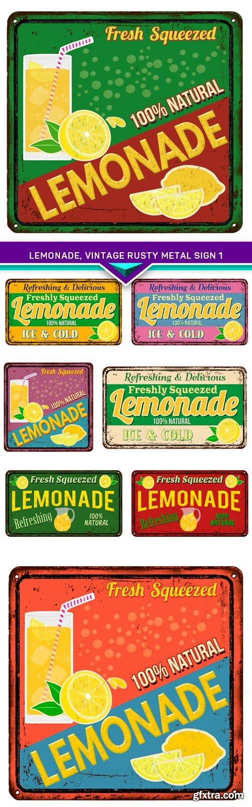Lemonade, vintage rusty metal sign 1 8x EPS