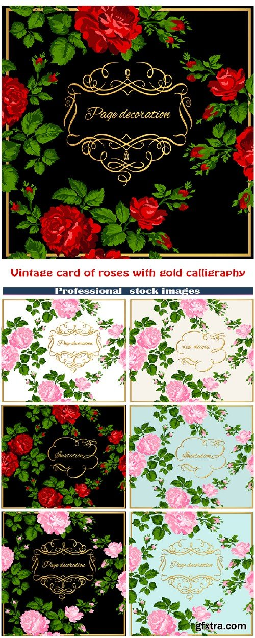 Luxurious vintage card of roses with gold calligraphy