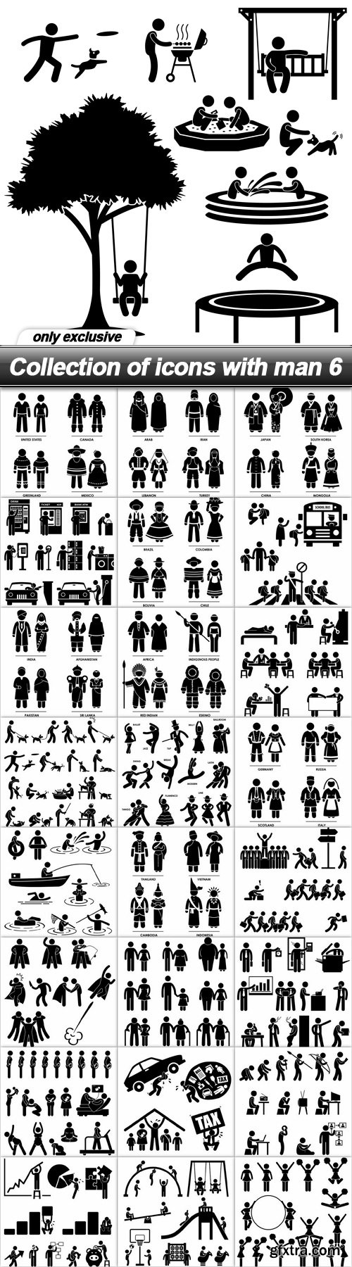 Collection of icons with man 6 - 25 EPS