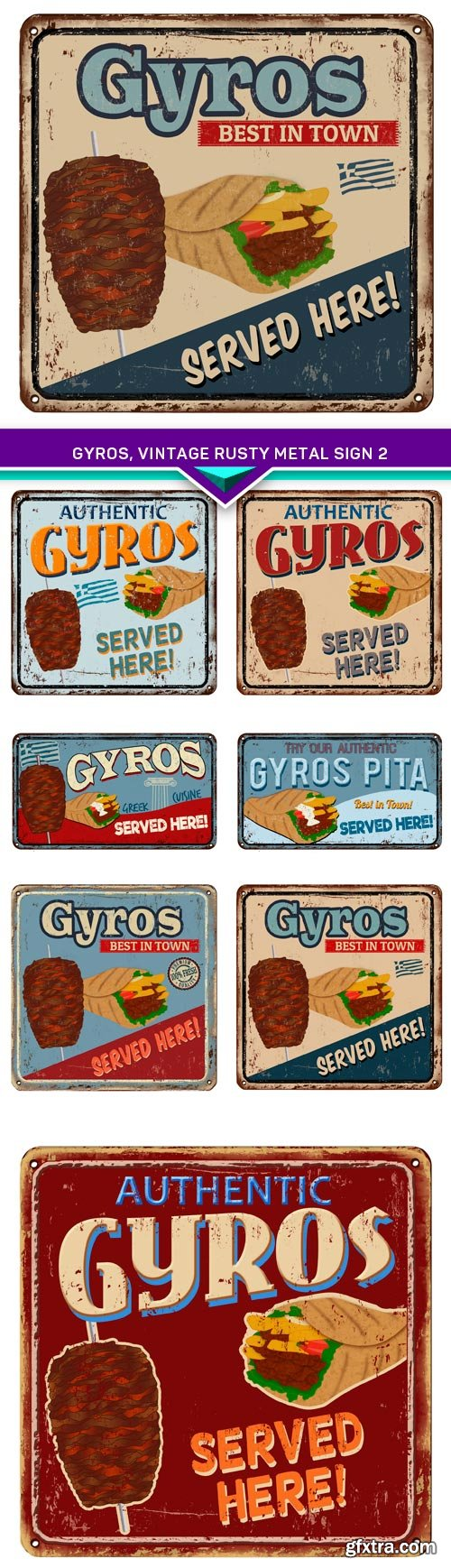 Gyros, vintage rusty metal sign 2 7x EPS