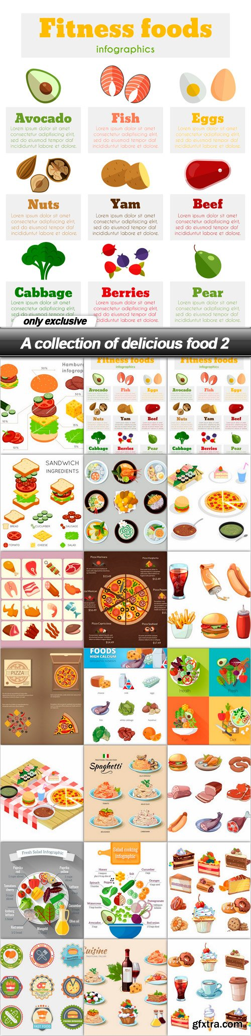 A collection of delicious food 2 - 21 EPS